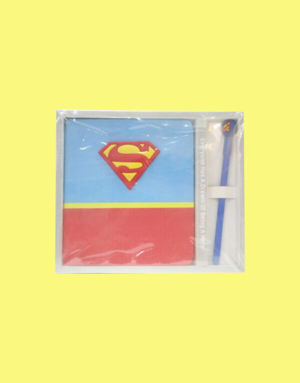 Super Man Notebook Journal With Led Pencil For Kids.