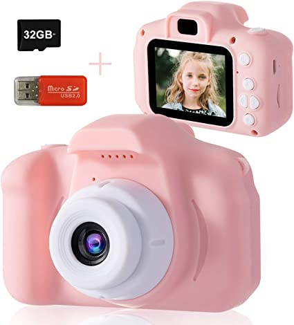 Mini Cute Kids Camcorder Rechargeable Digital Camera with 2 Inch 1080P Display Screen.