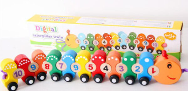 New wooden Toy Digital Caterpillar Train Baby Toy Free Shipping