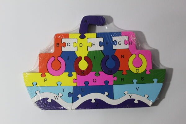 Boat Wooden Puzzle Block ABC And 123.