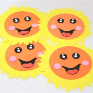 Smiling Sun Set Wall Decoration 4 PCS Fomic Stickers For Kids Room.