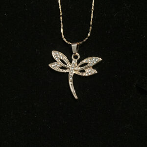 Zircon Studded Flying Insects Pendant - Gold