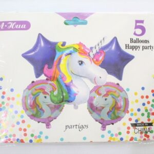 5pcs Unicorn Happy Birthday Foil Balloons In Multicolor Theme Party Decoration