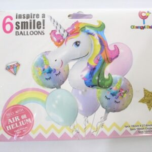 6pcs Unicorn happy birthday foil balloons in Multicolor theme party decoration