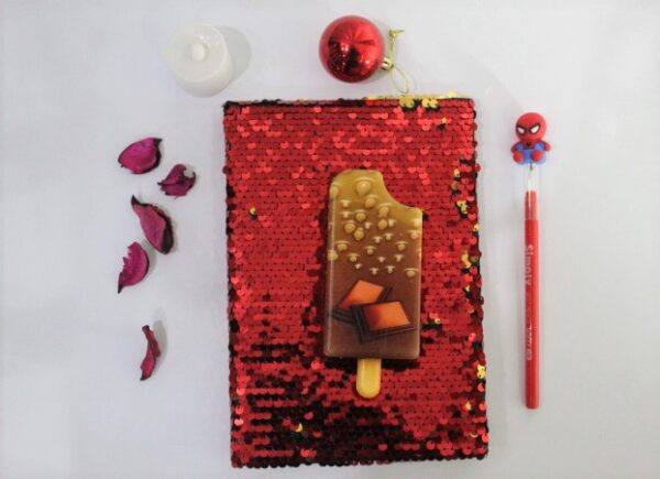 Ice Cream Red Hot Color Squishy Journal With Led Pencil For Kids.