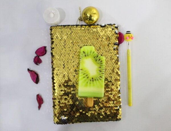 Ice Cream Golden Color Squishy Journal With Led Pencil For Kids.