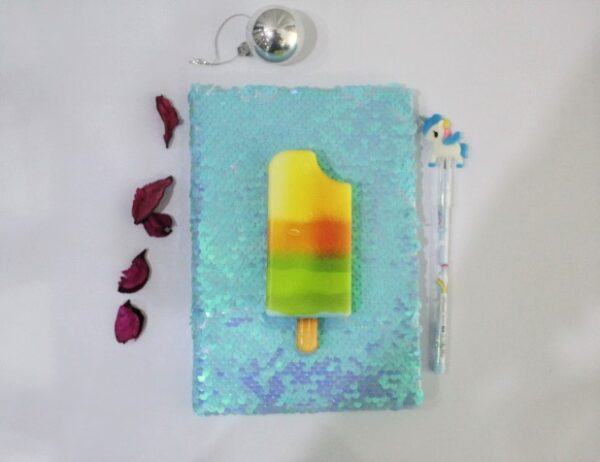 Ice Cream Froze Color Squishy Journal With Led Pencil For Kids.