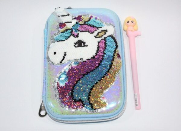 Unicorn Hard Pencil Case With Gel Pen Stationery Pouch Cosmetic Bag.