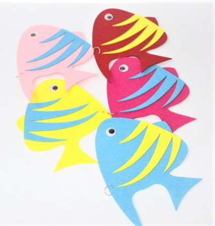 Wall Decoration Fish 5 PCS Fomic Stickers For Kids Room.