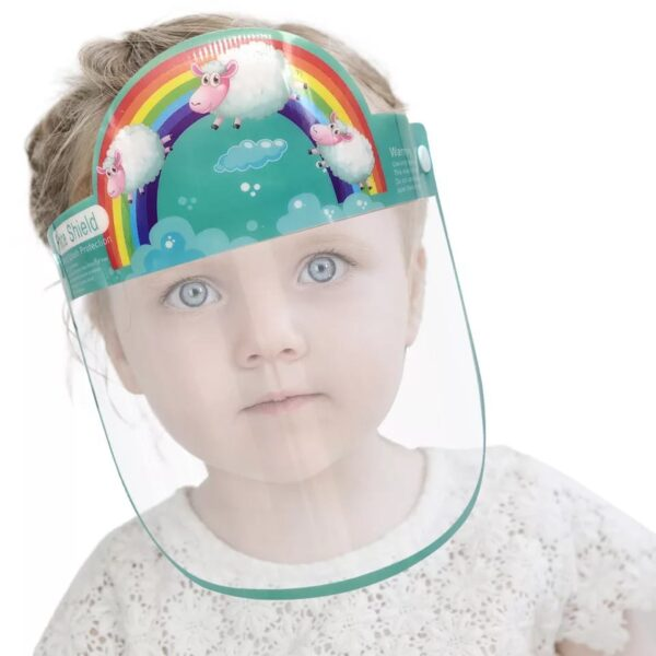 3D Cartoon Transparent Full Face Shields Mask Outdoor Child Kids Boy Girl Cartoon Face Shields Cover Mask With Elastic Band