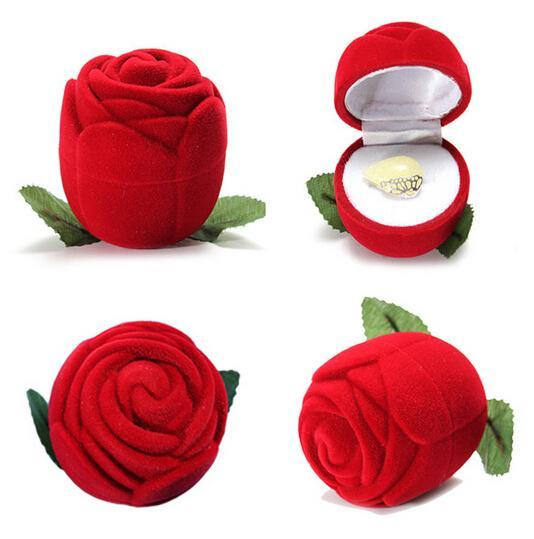 Red Rose Flower Ring Box - Small