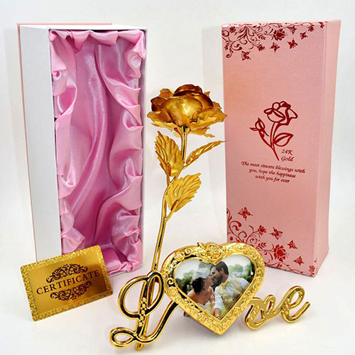 Foil Plated Gold Rose with Love Photo Stand