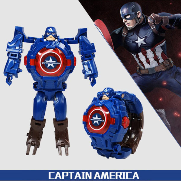 Superhero Action Figure Captain America With Matching Watch.