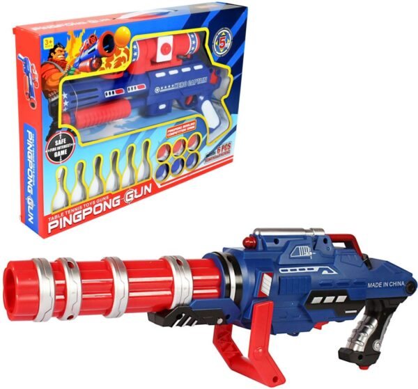 Ping Pong Mini Machine Gun with 6 Pieces Bowling for Kids