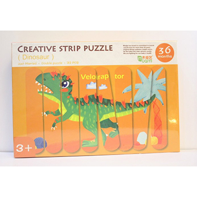 Kids Animal 3D Wooden Puzzle Toy Double-Sided Strip Puzzle Telling Story Stacking Jigsaw Educational Toy